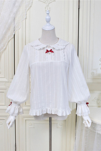 Alice Girl ~Plaid Strawberry~Jacquard Cotton Lolita Blouse -Pre-order