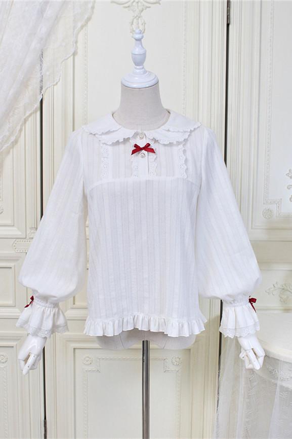 Alice Girl ~Plaid Strawberry~Jacquard Cotton Lolita Blouse -Pre-order