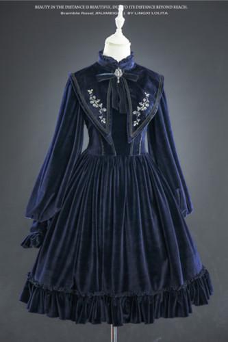 Lingxi Lolita ~Bramble Rose Velvet Lolita OP -Pre-order