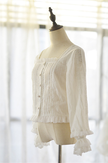 Doris Night ~Square/Stand Collar Sea Mallow Cotton Jacquard Lolita Blouse