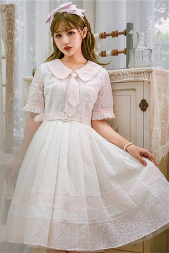 Doris Night ~College Style Pleated Normal Waist Lolita OP