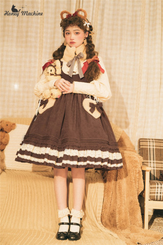 Honey Machien ~Little Brown Bear~ Lolita Salopette-Pre-order