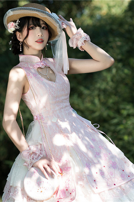 YUPBRO Lolita ~Peach Blossom Fan Lolita JSK-Ready made