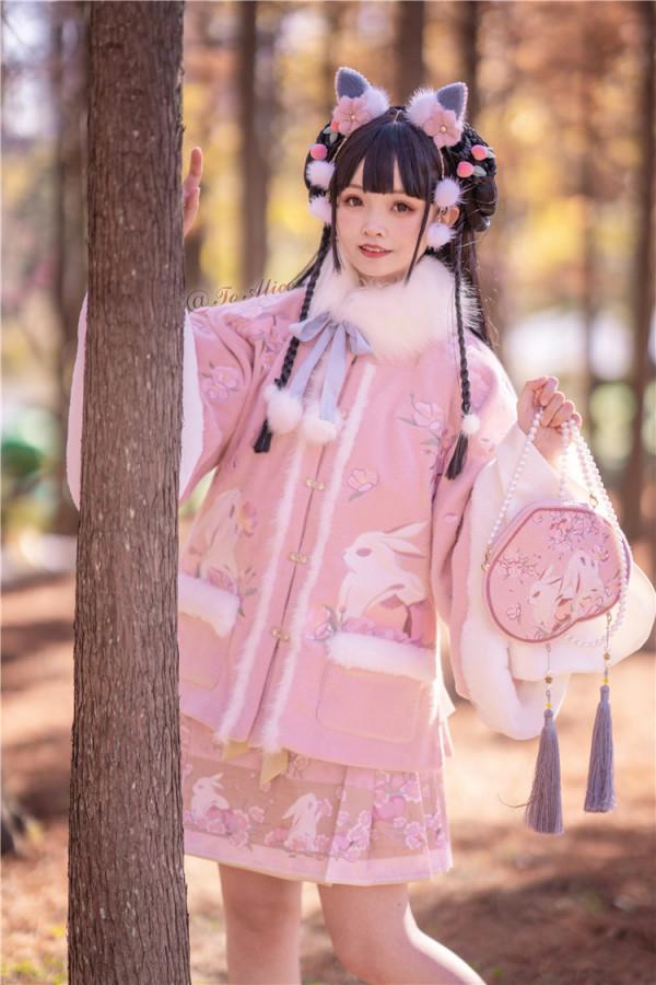 To Alice Peach Flowers Bunny Fur Collar Coat/Skirt Series