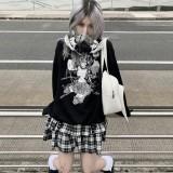 Black White Gingham Harajuku Punk Rivet 2 Layers Skirt