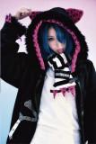 Punk Black Pink Velvet Kitten Zipper Hoodie