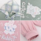 Mori Tribe Thin Velvet Kitten Bunny Prints Hoodie