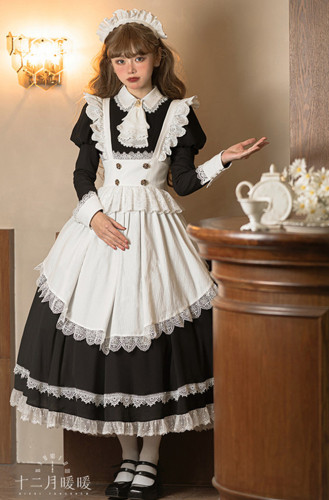 Teresa Afternoon Tea Maid Lolita Dress -Ready Made Black OP Long Version + Apron Size M - In Stock