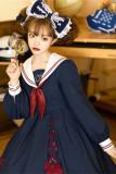 Basic Navy Collar Sailor Suit Student Girl Lolita OP