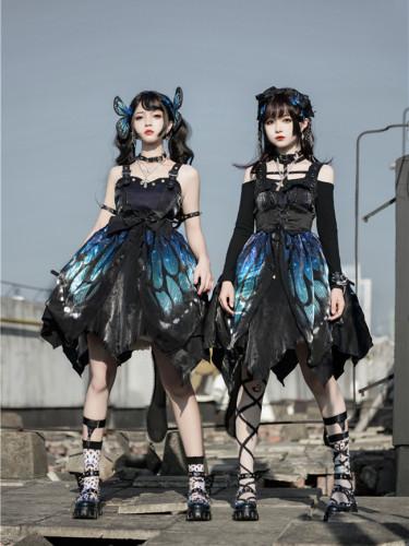 The Butterfly Effect ~Punk Halloween Lolita Normal Waist JSK - Blue Green Long Version S - In Stock