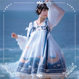 NyaNya Lolita Boutique ~Over the Sea the Moon Shines Bright Lolita Blouse -Pre-order