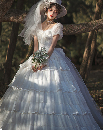 NyaNya Lolita Boutique ~ Amiens Cathedral Bridal Lolita OP Long Version -Pre-order