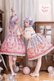 August Maiden ~Fancy Strawberry Ice Cream Cat Sweet Lolita JSK -Pre-order