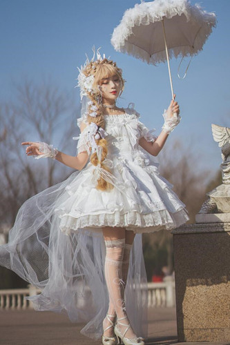 NyaNya Lolita Boutique ~ Amiens Cathedral Bridal Lolita JSK Short Version -Pre-order