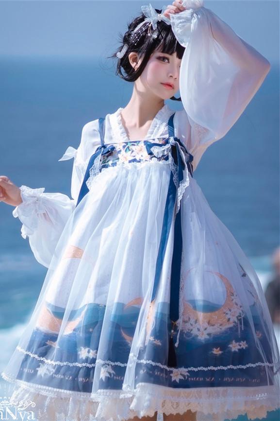 NyaNya Lolita Boutique ~Over the Sea the Moon Shines Bright Qi Lolita JSK -Pre-order