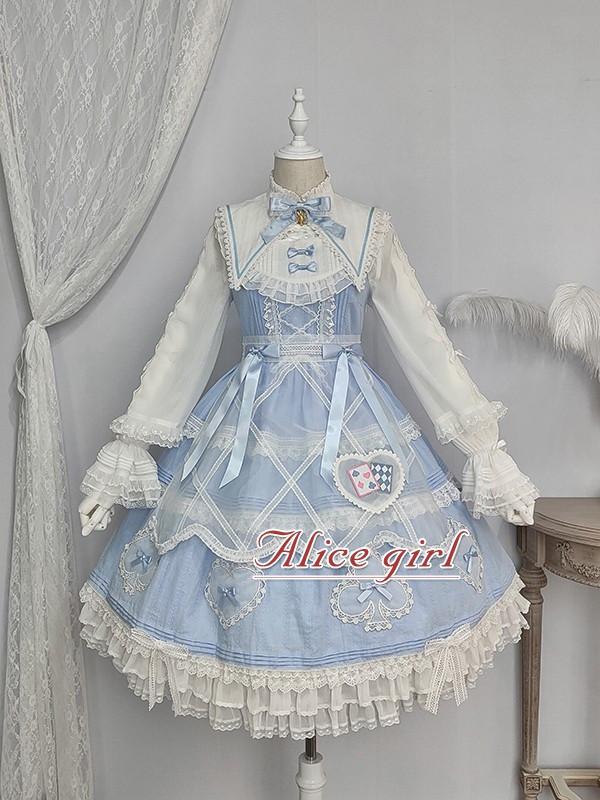Alice Girl ~Alice~ Lace Bow Lolita JSK -Pre-order Blue Black Size M - In Stock