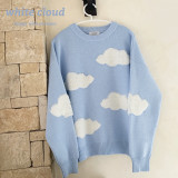 Wear Clouds Girls Sweet Blue Sweater