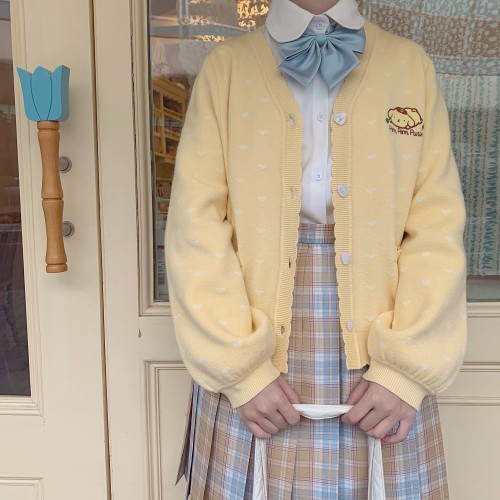 Sweet Hearts Cardigan Kyouko and Sanrio Collaboration Works Yellow XL - In Stock