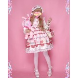 Diamond Honey ~Strawberry Picnic Bunny Sweet Lolita Jumper -Pre-order