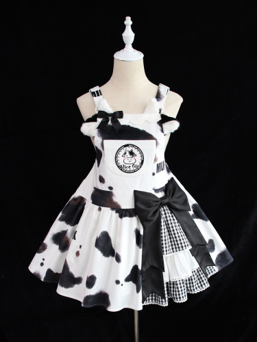 Alice Girl ~Sweet Milk Bow Lolita Salopette -Pre-order