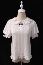 Alice Girl ~Sweet Milk Bow Lolita Blouse -Pre-order