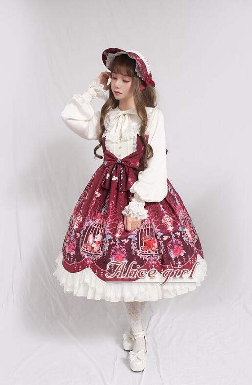 Dream In the Cage~ Sweet Lolita JSK -Pre-order Wine Size S - in Stock