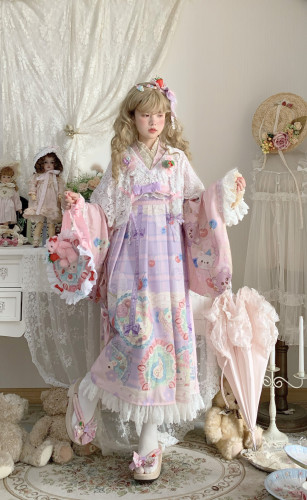 Cream Cake Kimono Style Lolita JSK Long Version -Pre-order