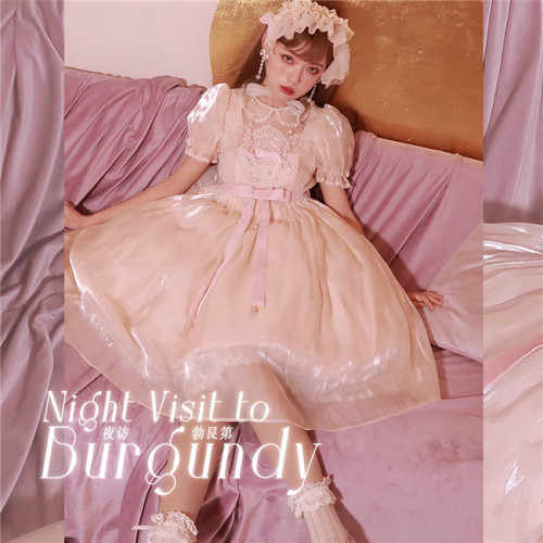 Grove Deer ~Night Visit to Gurgundy Lolita OP -Pre-order