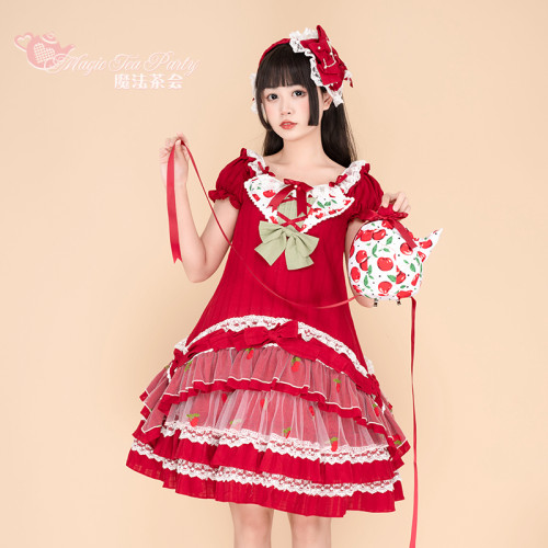 Magic Tea Party ~Cherry Tea Party Slight High Waist Lolita OP -Pre-order