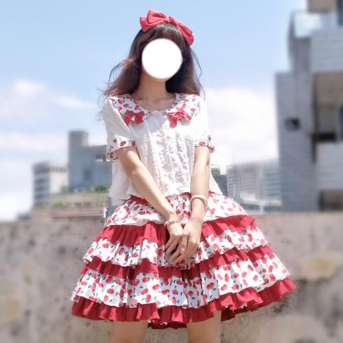 Magic Tea Party ~Cherry Tea Party Lolita Skirt -Pre-order