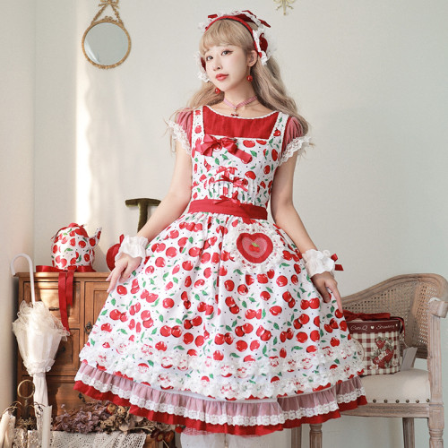 Magic Tea Party ~Cherry Tea Party Fake Two Pieces Lolita OP -Pre-order