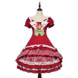 Magic Tea Party ~Cherry Tea Party Slight High Waist Lolita OP -Pre-order