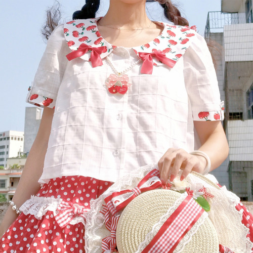 Magic Tea Party ~Cherry Tea Party Lolita Blouse -Pre-order