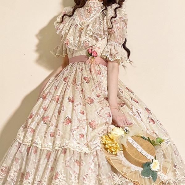 Miss Point ~The Beauty of Spring Flower Wall Lolita OP -Pre-order