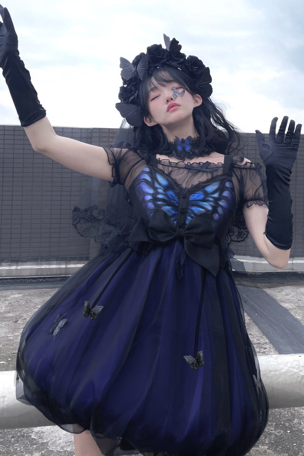 Night Elf ~Vintage Slight High Waist Gothic Lolita JSK -Pre-order