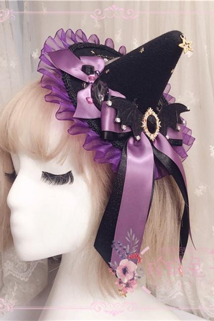 Black Purple Gold Gemstone Star Devil Wings Lolita Hat/Hairclip