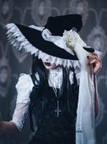 Dark Rose Lace Halloween Lolita Witch Hat