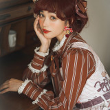 Miss Point ~Chocolate Daily Stripe Long Sleeves Lolita Blouse -Pre-order