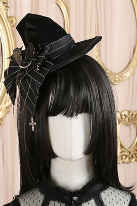 Little Witch Velvet Stripe Lolita Witch Hat with Detachable Bow -Pre-order