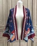 Alice Girl ~Lucky Cat~ Kimono Style Lolita Blouse/Coat -Pre-order Dark Blue Printed Coat Size L - In Stock