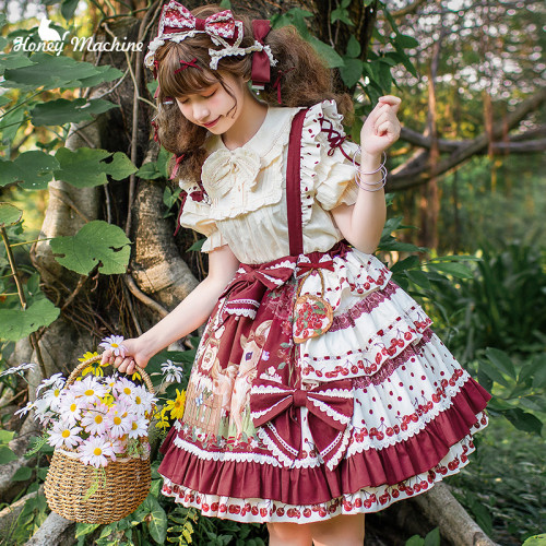 Honey Machine ~Little Red Riding Hood * Delicious Cherry Lolita Skirt/Cape -Pre-order