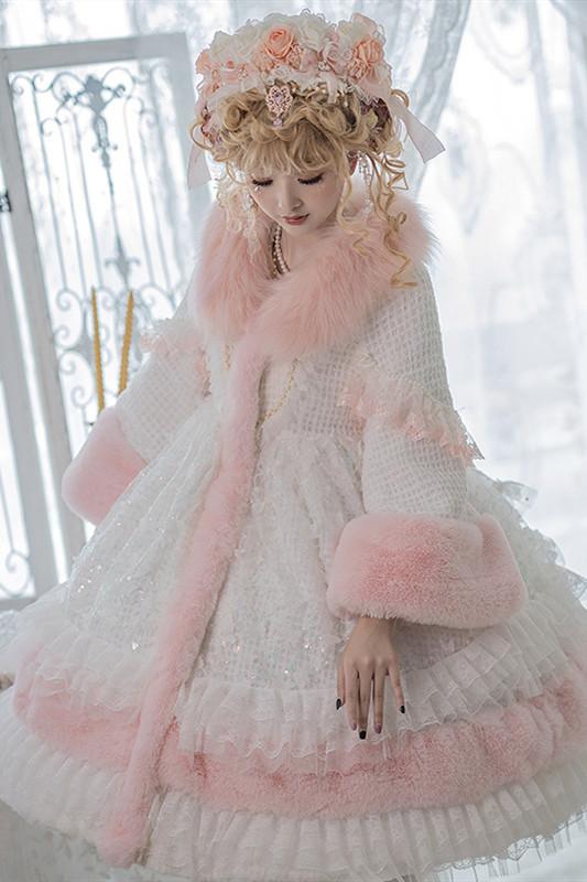 Sweet White Pink Winter Padded Long Coat