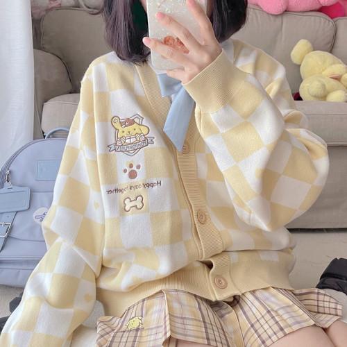 Kyouko & Sanrio Collaboration Checkerboard Sweater Cardigan
