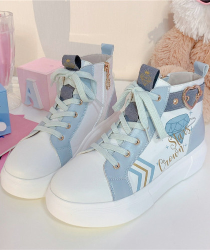 Stars Crown ~The Milky Way's Diamond High Tops Lolita Shoes -Pre-order