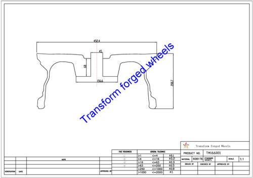 TM166001 16*6 Inch Forged Wheels Blanks Monoblock Drawing