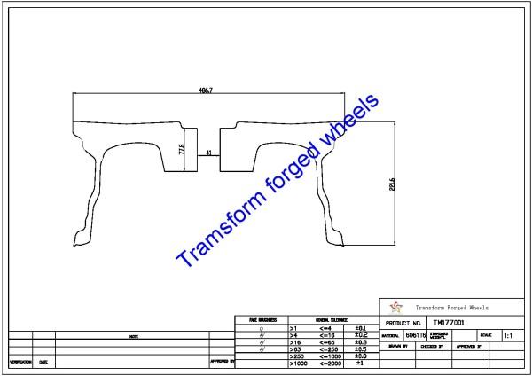 TM177001 17*7 Inch Forged Wheels Blanks Monoblock Drawing
