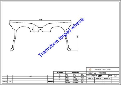 TM177502 17*7.5 Inch Forged Wheels Blanks Monoblock Drawing