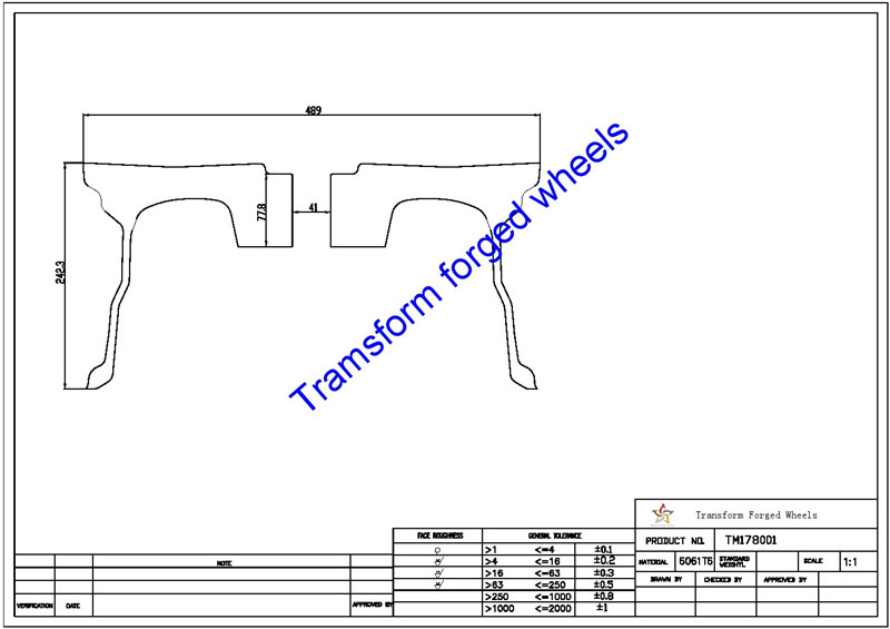 TM178001 17*8 Inch Forged Wheels Blanks Monoblock Drawing