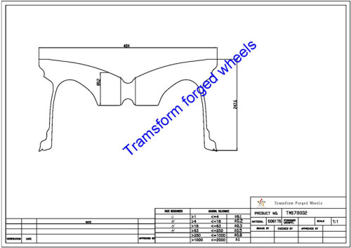 TM178002 17*8 Inch Forged Wheels Blanks Monoblock Drawing