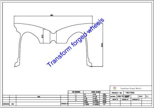 TM179001 17*9 Inch Forged Monoblock Wheels Blanks Drawing